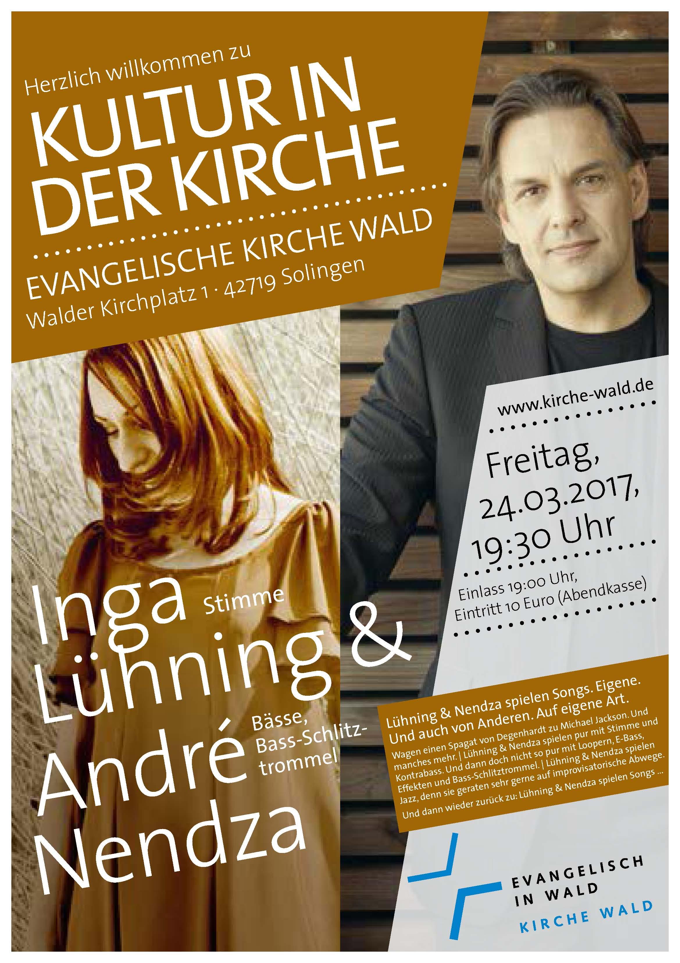 Inga Lühning: Stimme André Nendza: Bässe, Basschlitztrommel, Kultur in der Kirche
